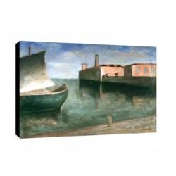 Quadro Carlo Carra Art. 01 cm 50x70 Trasporto Gratis intelaiato pronto da appendere  tela Canvas