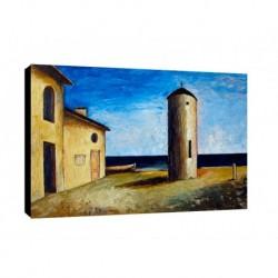Quadro Carlo Carra Art. 02 cm 50x70 Trasporto Gratis intelaiato pronto da appendere Stampa su tela Canvas