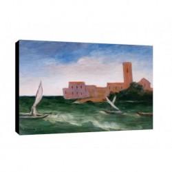 Quadro Carlo Carra Art. 04 cm 50x70 Trasporto Gratis intelaiato pronto da appendere Stampa su tela Canvas