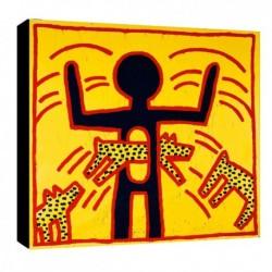 Quadro Keith Haring Art. 01 cm 50x50 Trasporto Gratis intelaiato pronto da appendere  tela Canvas