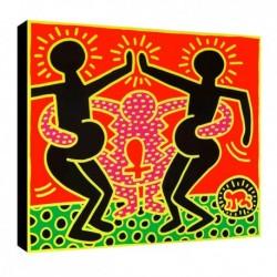 Bild Keith Haring Art. 03 cm 35x35 Kostenloser Transport Druck auf Leinwand das gemalde ist fertig zum aufhangen