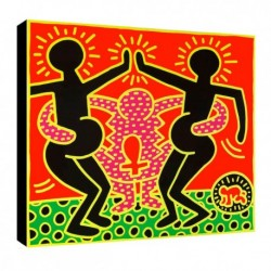 Bild Keith Haring Art. 03 cm 70x70 Kostenloser Transport Druck auf Leinwand das gemalde ist fertig zum aufhangen