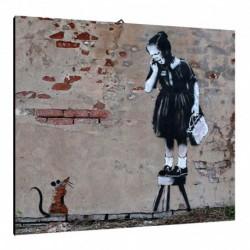 Quadro Banksy Art. 01 cm 50x50 Trasporto Gratis intelaiato pronto da appendere  tela Canvas