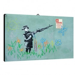 Quadro Banksy Art. 02 cm 35x50 Trasporto Gratis intelaiato pronto da appendere Stampa su tela Canvas