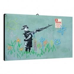 Quadro Banksy Art. 02 cm 70x100 Trasporto Gratis intelaiato pronto da appendere Stampa su tela Canvas