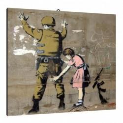 Quadro Banksy Art. 03 cm 35x35 Trasporto Gratis intelaiato pronto da appendere Stampa su tela Canvas