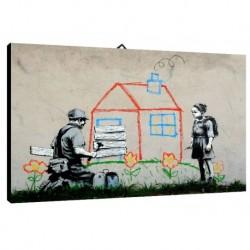 Quadro Banksy Art. 04 cm 70x100 Trasporto Gratis intelaiato pronto da appendere Stampa su tela Canvas