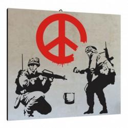 Bild Banksy  Art. 07 cm 35x35 Kostenloser Transport Druck auf Leinwand das gemalde ist fertig zum aufhangen