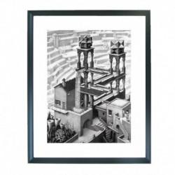Quadro Escher cod. 01  cm. 40x50 pronto da appendere con passepartout  comprensivo di cornice, gancio e plexiglass