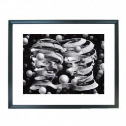 Quadro Escher cod. 04  cm. 40x50 pronto da appendere con passepartout  comprensivo di cornice, gancio e plexiglass