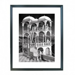 Quadro Escher cod. 08  cm. 40x50 pronto da appendere con passepartout  comprensivo di cornice, gancio e plexiglass