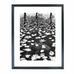 Quadro Escher cod. 10  cm. 40x50 pronto da appendere con passepartout  comprensivo di cornice, gancio e plexiglass