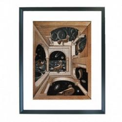 Quadro Escher cod. 37  cm. 40x50 pronto da appendere con passepartout  comprensivo di cornice, gancio e plexiglass