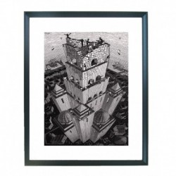 Quadro Escher cod. 62  cm. 40x50 pronto da appendere con passepartout  comprensivo di cornice, gancio e plexiglass